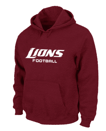 Detroit Lions Authentic font Pullover Hoodie Red