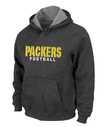Green Bay Packers font Pullover Hoodie D.Grey