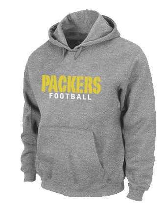 Green Bay Packers font Pullover Hoodie Grey