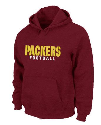 Green Bay Packers font Pullover Hoodie Red