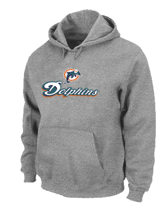 Miami Dolphins Authentic Logo Pullover Hoodie Grey