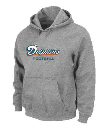 Miami Dolphins Authentic font Pullover Hoodie Grey