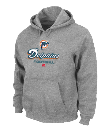 Miami Dolphins Critical Victory Pullover Hoodie Grey