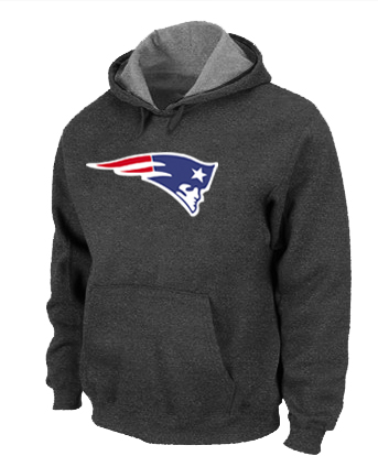 New England Patriots Logo Pullover Hoodie D.Grey
