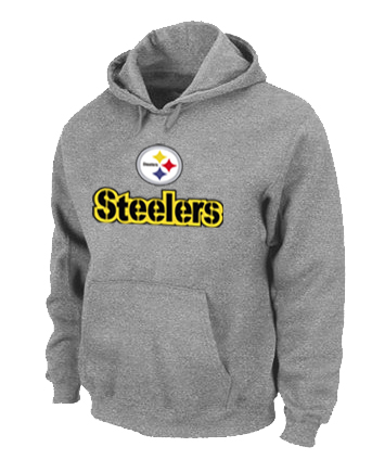 Pittsburgh Steelers Authentic Logo Pullover Hoodie Grey