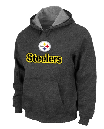 Pittsburgh Steelers Authentic Logo Pullover Hoodie D.GREY