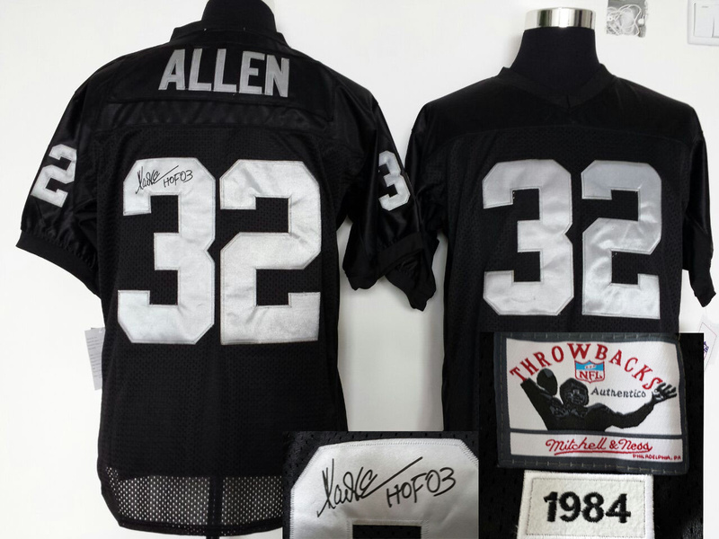 Oakland Raiders 32 ALLEN black Throwback With player signed Jersey