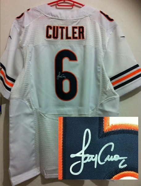Chicago Bears 6 Cutler White Nike Elite With player signed Jersey