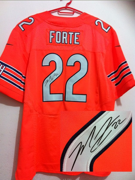 Chicago Bears 22 Forte Orange Nike Elite With player signed Jersey