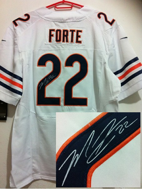 Chicago Bears 22 Forte White Nike Elite With player signed Jersey