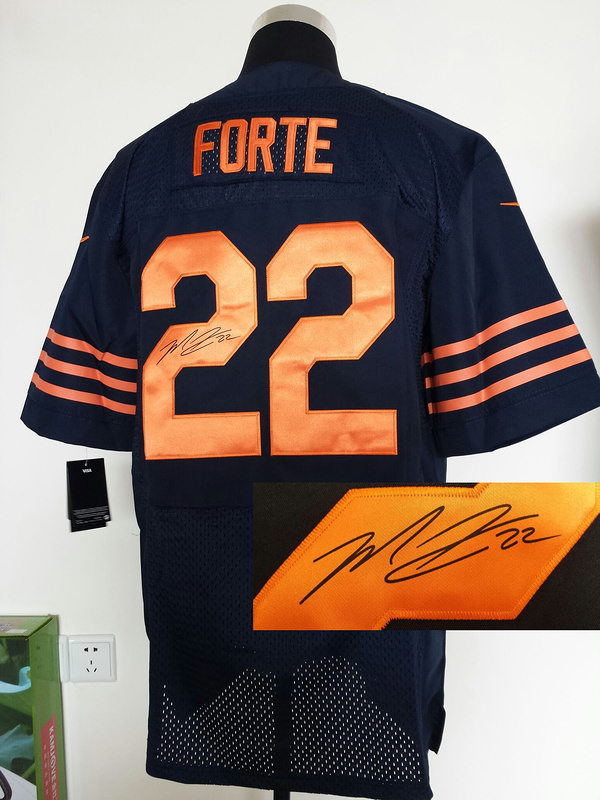 Chicago Bears 22 Matt Forte Blue With Orange Nike Elite With player signed Jersey
