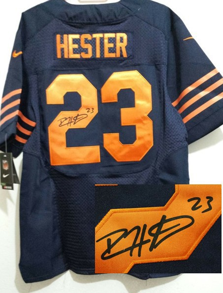 Chicago Bears 23 Hester Blue With Orange Nike Elite With player signed Jersey