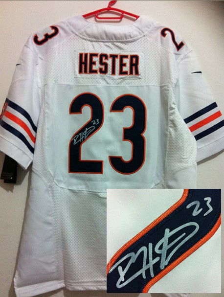 Chicago Bears 23 Hester White Nike Elite With player signed Jersey
