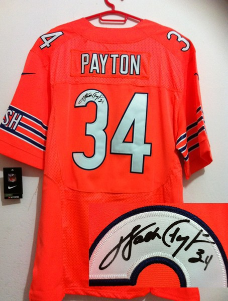 Chicago Bears 34 Payton Ornage Nike Elite With player signed Jersey