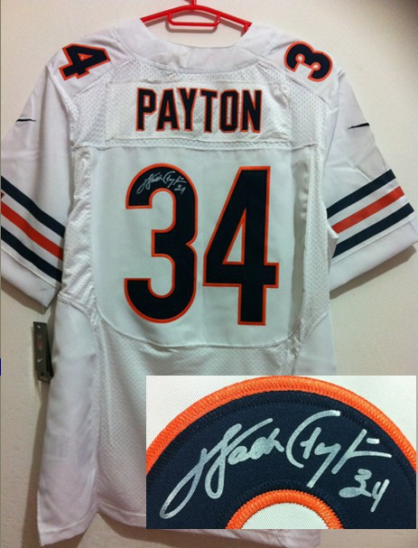 Chicago Bears 34 Payton White Nike Elite With player signed Jersey