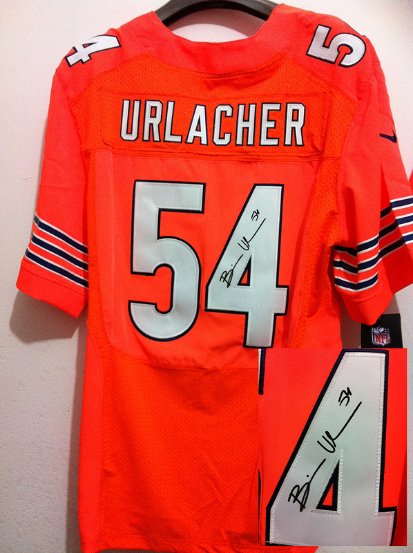 Chicago Bears 54 Brian Urlacher Orange Nike Elite With player signed Jersey
