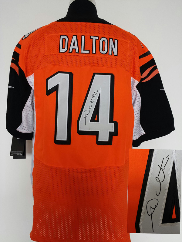 Cincinnati Bengals 14 Andy Dalton Orange Nike Elite With player signed Jersey
