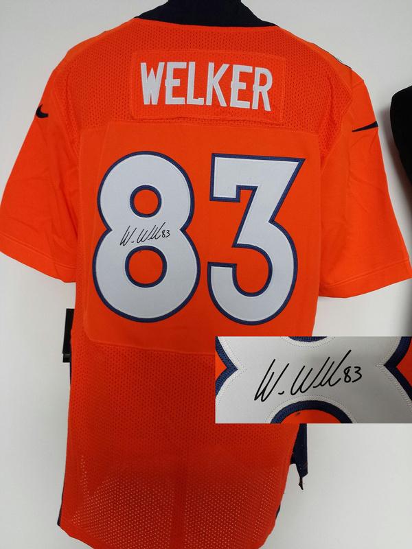 Denver Broncos 83 Welker Orange Nike Elite With player signed Jersey
