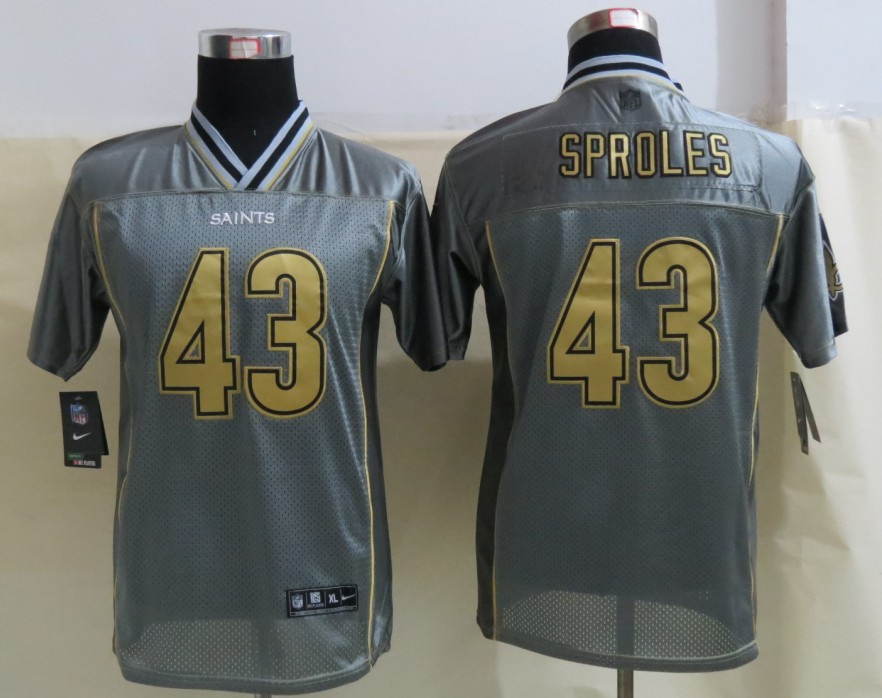 Youth New Orleans Saints 43 Sproles Grey Vapor 2013 NEW Nike Elite Jersey