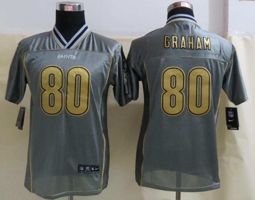 Youth New Orleans Saints 80 Graham Grey Vapor 2013 NEW Nike Elite Jerseys