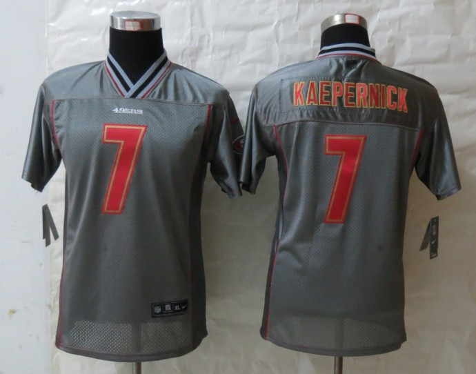 Youth San Francisco 49ers 7 Kaepernick Grey Vapor 2013 NEW Nike Elite Jerseys