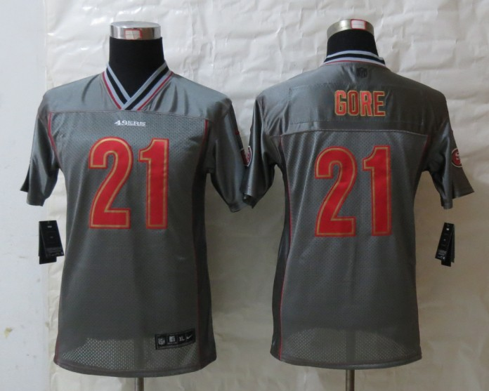 Youth San Francisco 49ers 21 Gore Grey Vapor 2013 NEW Nike Elite Jerseys