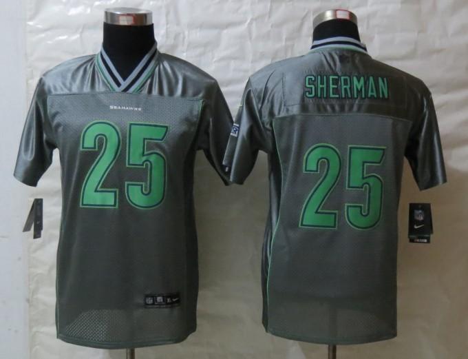 Youth Seattle Seahawks 25 Sherman Grey Vapor 2013 New Nike Elite Jerseys