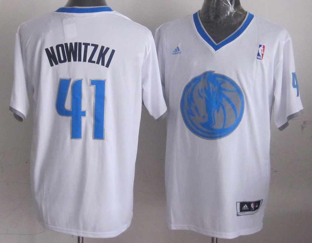 NBA Dallas Mavericks 41 Dirk Nowitzki White 2013 Christmas Day Jersey