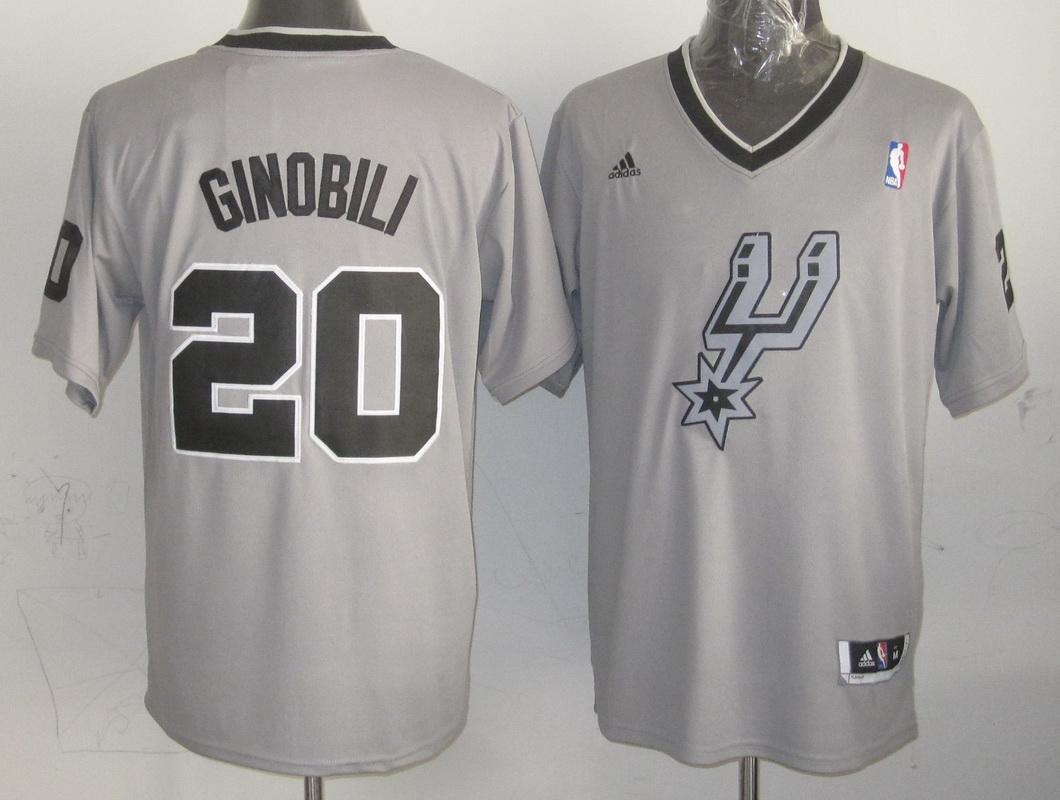 NBA San Antonio Spurs 20 Manu Ginobili Gray Grey 2013 Christmas Day Jersey