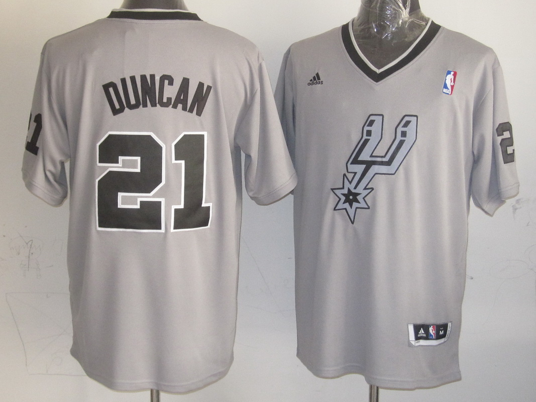 NBA San Antonio Spurs 21 Tim Duncan Gray Grey 2013 Christmas Day Jersey