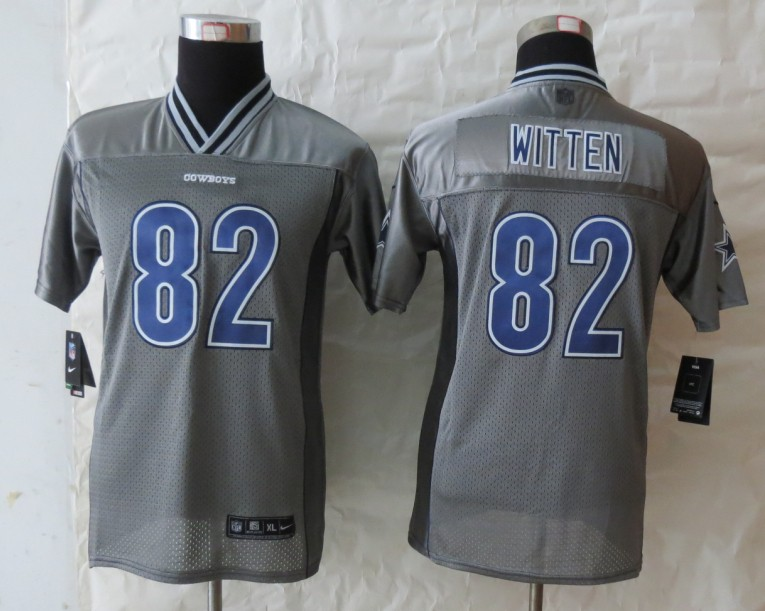 Youth Dallas cowboys 82 Witten Grey Vapor 2013 NEW Nike Elite Jerseys
