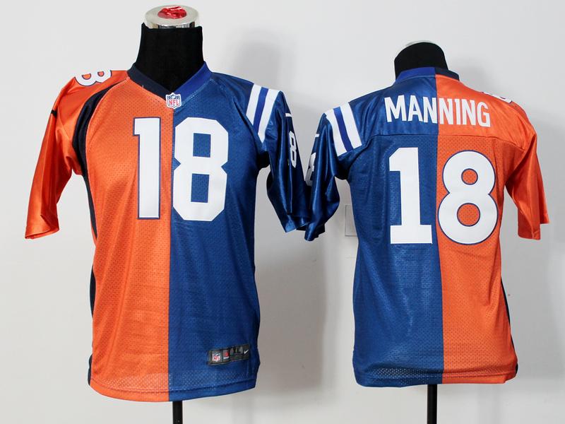 Youth Denver Broncos 18 Manning Orange And Blue Nike Elite Split Jersey