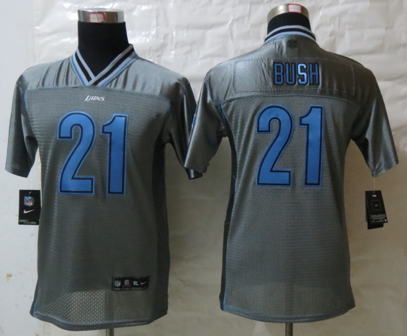 Youth Detroit Lions 21 Bush Grey Vapor 2013 New Nike Elite Jerseys