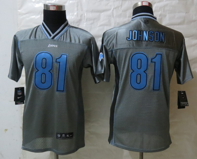 Youth Detroit Lions 81 Johnson Grey Vapor 2013 New Nike Elite Jerseys