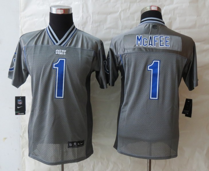 Youth Indianapolis Colts 1 McAfee Grey Vapor 2013 NEW Nike Elite Jerseys