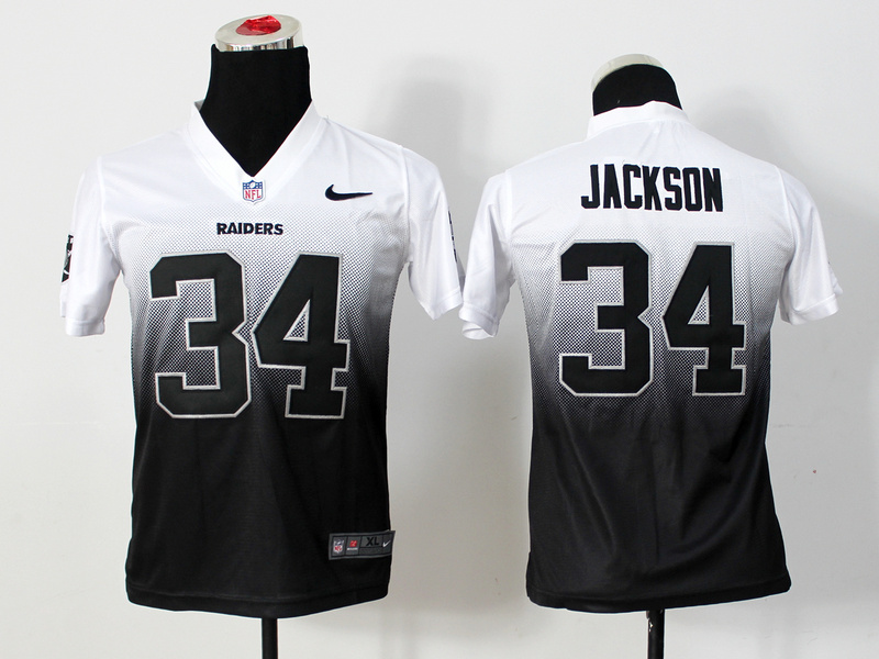 Youth Oakland Raiders 34 Bo Jackson White Black Nlike Elite Drift Fashion II Jerseys