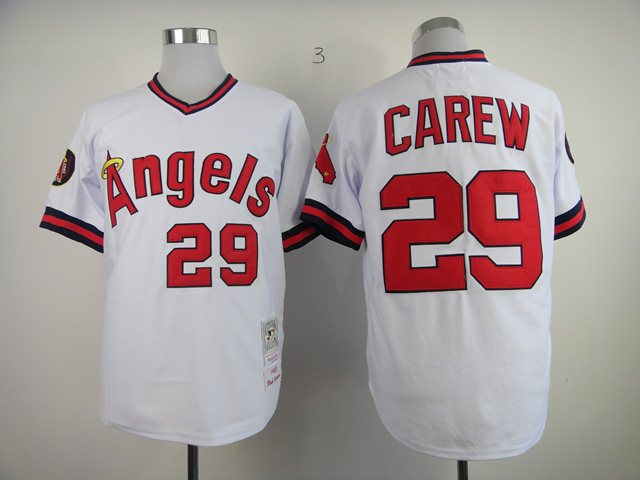 Los Angeles Angels 29 Carew White M&N 1982 jerseys