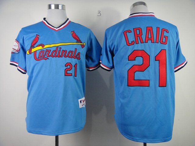 St. Louis Cardinals 21 Authentic Allen Craig Blue jerseys