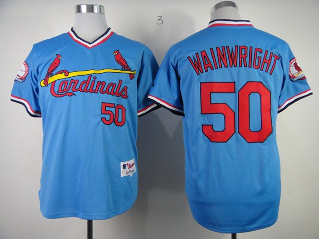 St. Louis Cardinals 50 Authentic Adam Wainwr Blue jerseys