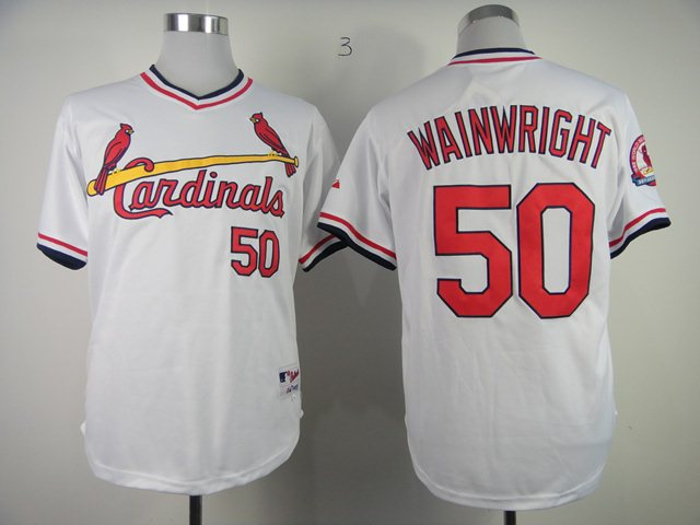 St. Louis Cardinals 50 Authentic Adam Wainwr white jerseys