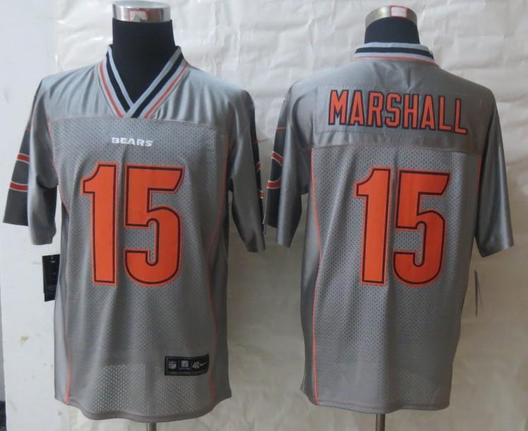 2013 NEW Nike Chicago Bears 15 Marshall Grey Vapor Elite Jerseys