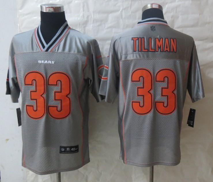 2013 NEW Nike Chicago Bears 33 Tillman Grey Vapor Elite Jerseys