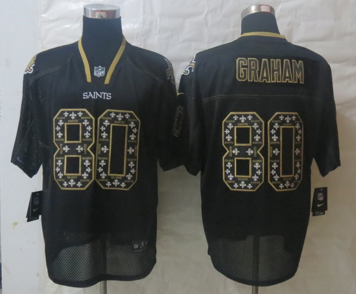 2013 NEW Nike New Orleans Saints 80 Graham Lights Out Black Elite Jerseys
