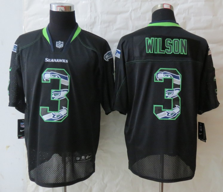 2013 New Nike Seattle Seahawks 3 Wilson Lights Out Black Elite Jerseys