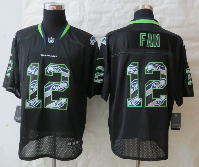 2013 New Nike Seattle Seahawks 12 Fan Lights Out Black Elite Jerseys