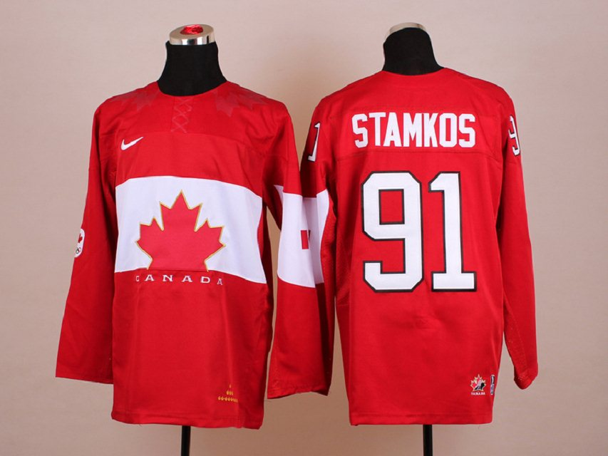 NHL 2014 Winter Olympic Team Canada 91 Stamkos Red Hockey Jersey