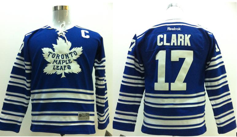 NHL Toronto Maple Leafs 17 Wendel Clark white Blue kids Jerseys