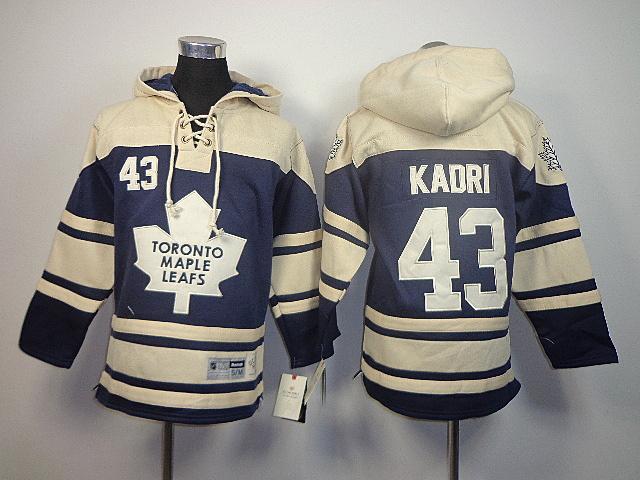 NHL Toronto Maple Leafs 43 Nazem Kadri blue kids Old Time Hockey Sawyer Lace Up Pullover Hooded Sweatshirt jerseys