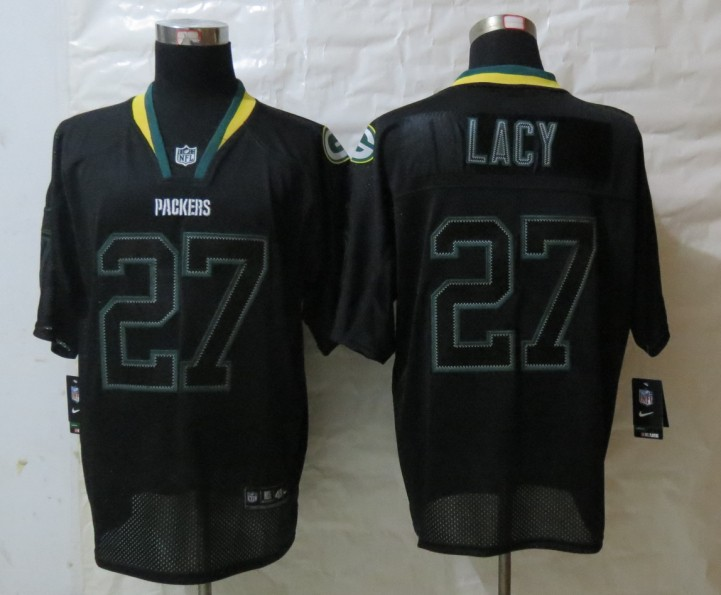 Nike Green Bay Packers 27 Lacy Lights Out Black Elite Jerseys