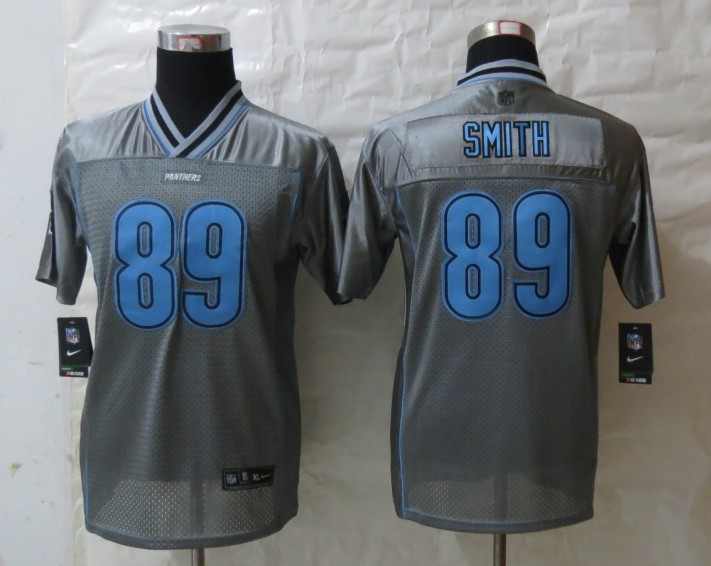 Youth 2013 NEW Nike Carolina Panthers 89 Smith Grey Vapor Elite Jerseys